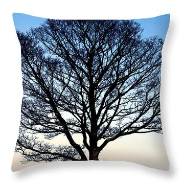 Silhouetted Tree Throw Pillow