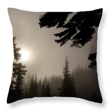 Silhouettes Of Trees On Mt Rainier Throw Pillow