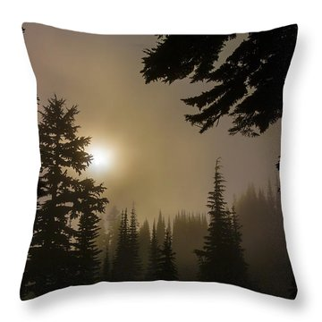 Silhouettes Of Trees On Mt Rainier II Throw Pillow