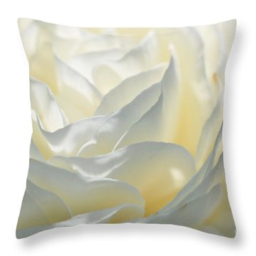 Silk Cream Floral Throw Pillow by Elaine Manley