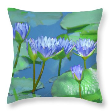 Silken Lilies Throw Pillow by Holly Kempe