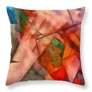 Silky Abstract Throw Pillow by Catherine Lott