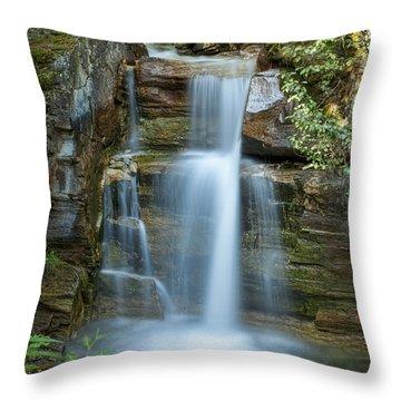 Silky Flow Of Waterfalls, Rainbow Throw Pillow by Roberta Murray
