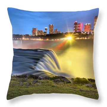 Silky Niagara Falls Panoramic Sunset Throw Pillow by Adam Jewell