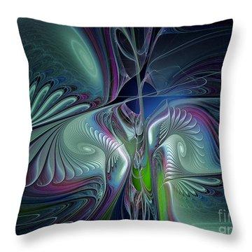 Silky Nights-fractal Design Throw Pillow