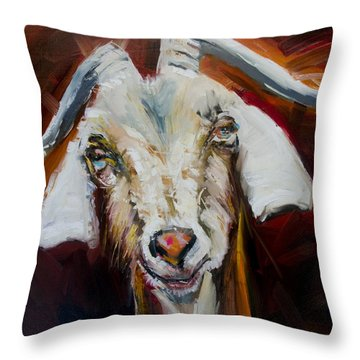 Silly Goat Throw Pillow