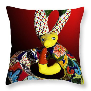 Silly Snake Throw Pillow by Phyllis Denton