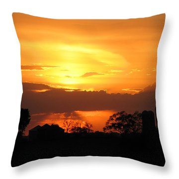 Silo Sunset Throw Pillow