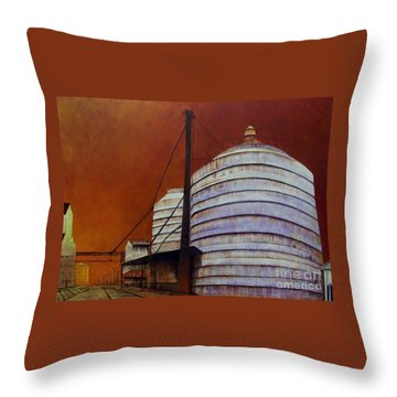 Silos With Sienna Sky Throw Pillow