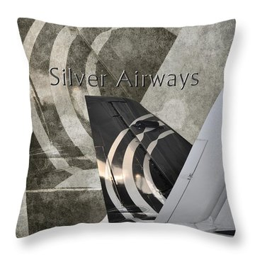 Silver Airways Tail Logo Throw Pillow by Diane E Berry