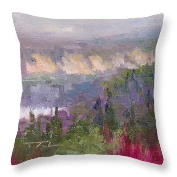 Silver And Gold - Matanuska Canyon Cliffs River Fireweed Throw Pillow