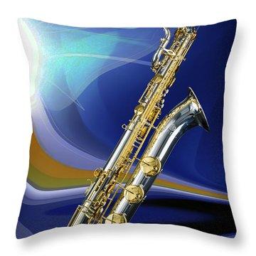 Silver Baritone Saxophone Photograph In Color 3459.02 Throw Pillow