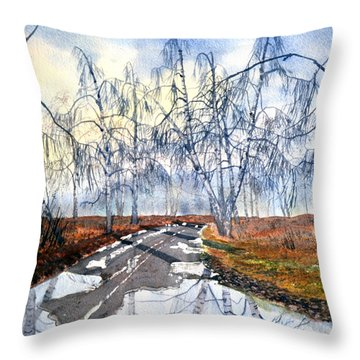 Silver Birch On Skipwith Common Throw Pillow