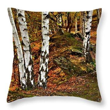 Silver Birch Tree Canvas Throw Pillow