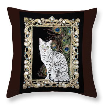 Silver Egyptian Mau Throw Pillow