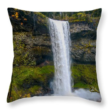 Silver Falls - South Falls Throw Pillow