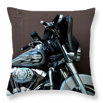 Throw Pillow featuring the photograph Silver Harley Motorcycle by Imran Ahmed