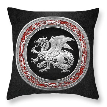 Silver Icelandic Dragon  Throw Pillow