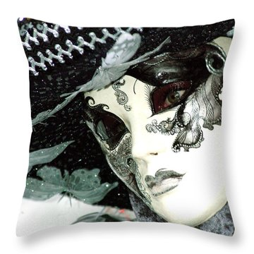 Silver Lacy Eyes Throw Pillow