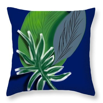 Throw Pillow featuring the digital art Silver Leaf And Fern I by Christine Fournier