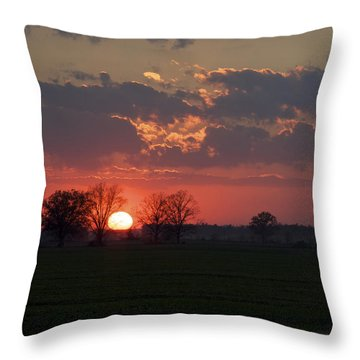 Throw Pillow featuring the photograph Silver Lining - Red Sunset Art Print by Jane Eleanor Nicholas