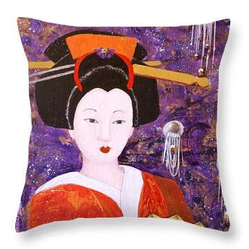 Silver Moon Geisha Throw Pillow