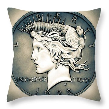1922 Silver Proof Peace Dollar Throw Pillow