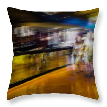 Throw Pillow featuring the photograph Silver People In A Golden World by Alex Lapidus