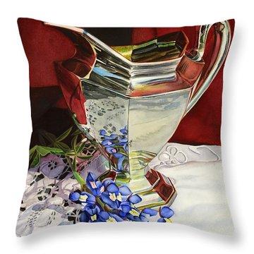 Silver Pitcher And Bluebonnet Throw Pillow