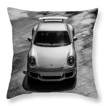 Silver Porsche 911 Gt3 Throw Pillow by Douglas Pittman