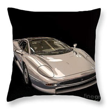 Silver Sports Car Throw Pillow by Edward Fielding