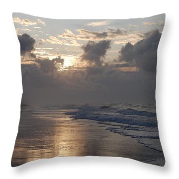 Silver Sunrise Throw Pillow by Mim White