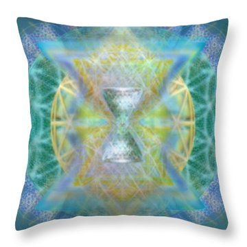 Silver Torquoise Chalicell Ring Flower Of Life Matrix Throw Pillow