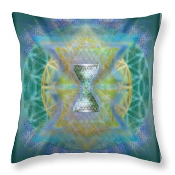 Silver Torquoise Chalicell Ring Flower Of Life Matrix II Throw Pillow
