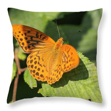 Throw Pillow featuring the photograph Silver-washed Fritillary  - Male - Argynnis Paphia by Jivko Nakev