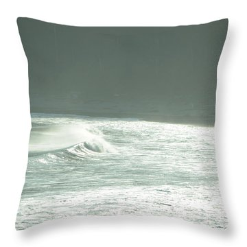 Silver Wave Throw Pillow
