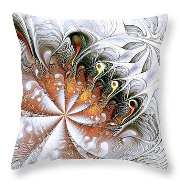 Silver Waves Throw Pillow by Anastasiya Malakhova