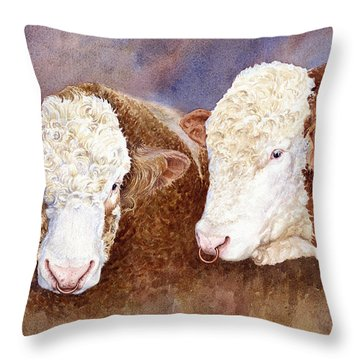 Simmental Bulls Throw Pillow