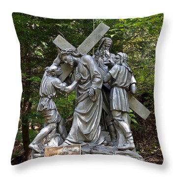 Simon Helps Jesus Throw Pillow