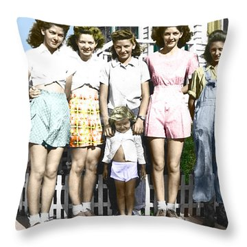 Simonson Sisters Throw Pillow by Douglas Simonson