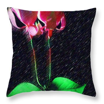 Throw Pillow featuring the painting Simple Orchid by Mario Carini