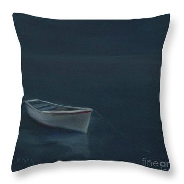 Simple Serenity - Lone Boat Throw Pillow by Mary Hubley