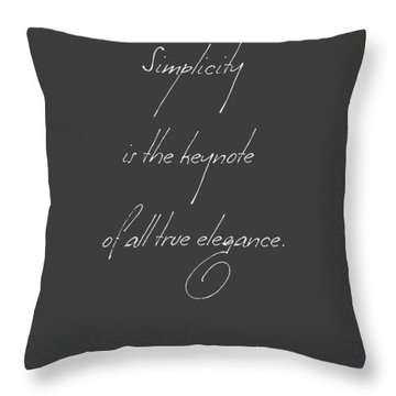 Simplicity And Elegance Throw Pillow by Gina Dsgn
