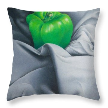 Throw Pillow featuring the painting Simply Green by Pamela Clements