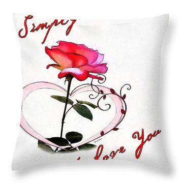 Throw Pillow featuring the painting Simply Love... by Charlie Roman