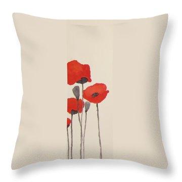 Simply Poppies 1 Throw Pillow by Elvira Ingram