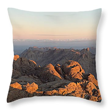 Throw Pillow featuring the pyrography Sinai Mountains Just After Sunrise by Julis Simo