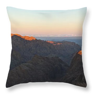 Throw Pillow featuring the pyrography Sinai View From St. Catherine Montain On Sunrise by Julis Simo