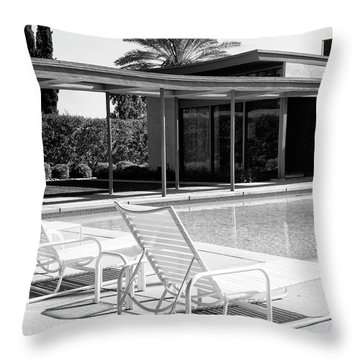 Sinatra Pool Bw Palm Springs Throw Pillow by William Dey