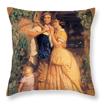 Sinews Old England Throw Pillow by George Elgar Hicks